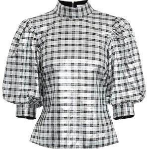Ganni metallic silver blouse